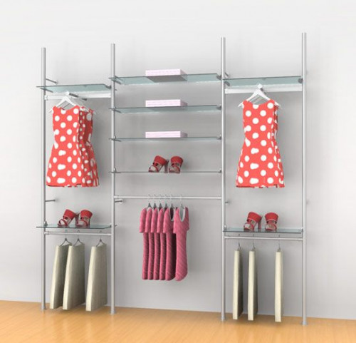 "Aluminum Poles Shelving Unit with Five Hanging Rails and Two Faceouts, Wall Mounted, Three  Sections 24"", 48"", 24"" - Palo"