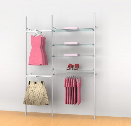 "Aluminum Poles Shelving/Clothing Unit 24""-36"" with Two Faceouts and 36"" Hanging Rail, Wall Mounted, Two Sections - Palo"