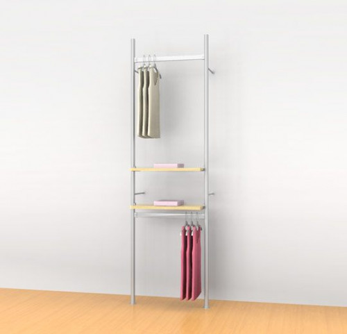 "Aluminum Poles Shelving Unit with two 24"" Hanging Rails and two Shelve Brackets, Wall Mounted - Palo"