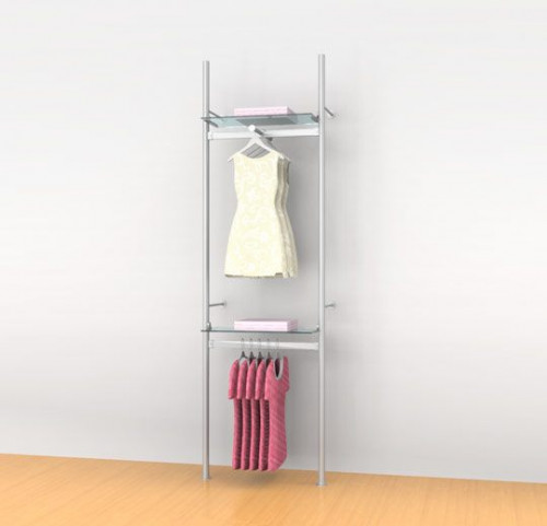 "Aluminum Poles Shelving Unit with Two 24"" Hanging Rails, Two Shelve Brackets, One Faceout, Wall Mounted - Palo"