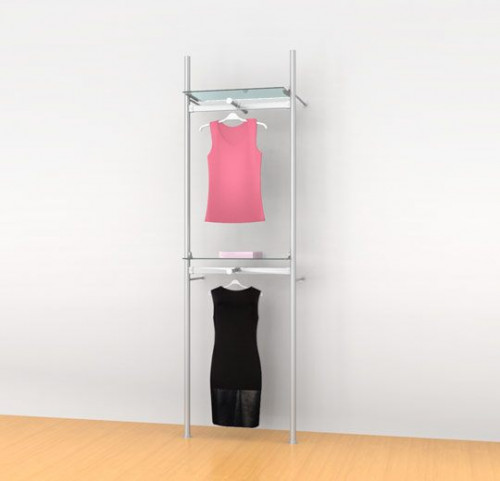 "Aluminum Poles Shelving Unit with Two 24"" Hanging Rails, Two Shelve Brackets, Two Faceouts, Wall Mounted - Palo"