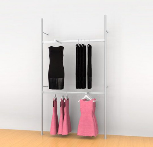 "Aluminum Poles Shelving Unit with Two 48"" Hanging Rails and Two Faceouts, Wall Mounted - Palo"