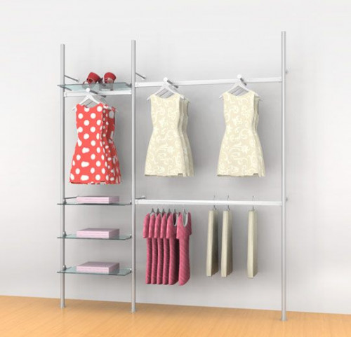 "Aluminum Poles Shelving Unit with Three Hanging Rails and Three Faceouts, Wall Mounted, Two Sections 24"", 48"" - Palo"