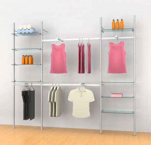 "Aluminum Poles Shelving Unit with Four Hanging Rails and Three Faceouts, Wall Mounted, Three Sections 24"", 48"", 24"" - Palo"