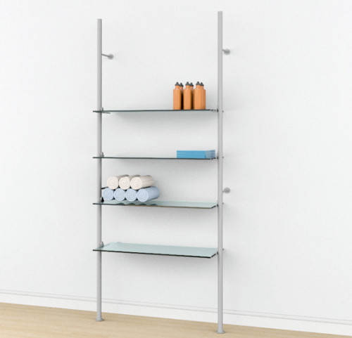 Aluminum Poles Shelving Unit for Four Wood or Glass Shelves Wall Mounted  - Palo 92""