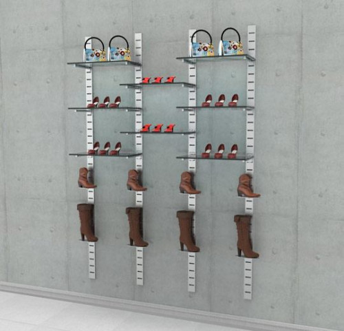 Shoe Display Kit 1, SlatStrip, Wall Mounted