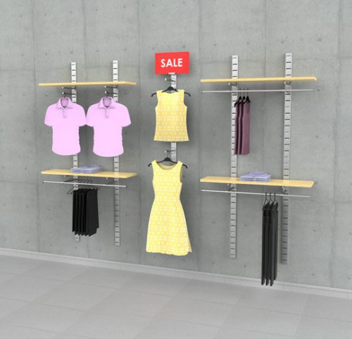 "Clothing Display with One Sign Holder, Wall Mounted, Three Sections 48"", 24"", 48"" - SlatStrip"