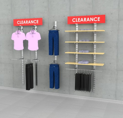 "Clothing Display with Two Sign Holders, Wall Mounted, Three Sections 48"", 24"", 48"" - SlatStrip"