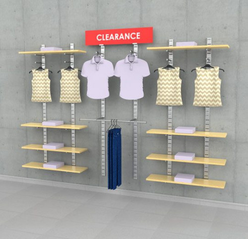 "Clothing Display Shelving Unit with Sign Holder, Wall Mounted, Three Sections of 48"" - SlatStrip"
