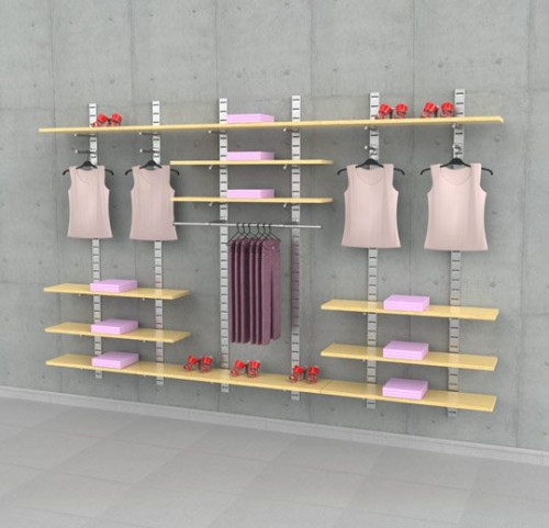 "Clothing Display Shelving Unit, Wall Mounted, Three Sections of 48"" - SlatStrip"