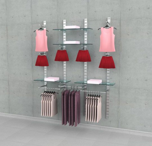 Clothing Display Four Section Combination, Wall Mounted - SlatStrip