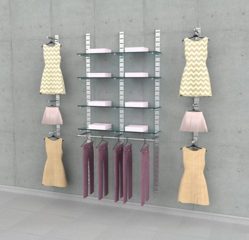 Clothing Display Five Section Combination, Wall Mounted - SlatStrip