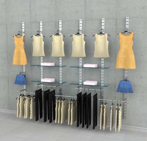 Clothing Display Six Section Combination, Wall Mounted - SlatStrip