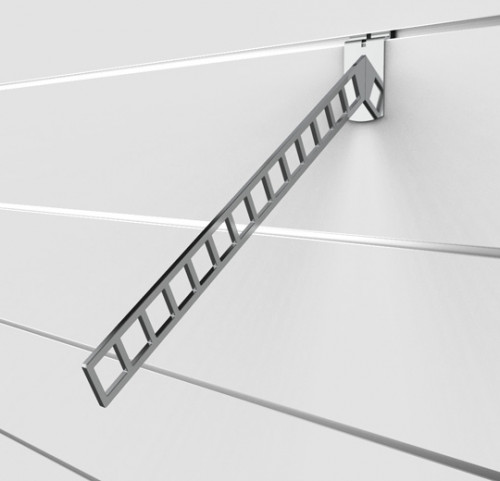 SlatWall Waterfall for Fourteen Hangers, Chrome Finish  - Concepto