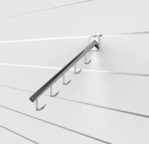 SlatWall Waterfall with Five Hooks, Chrome Finish - Concepto