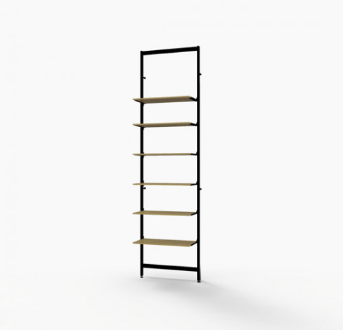 "Shelving Display for Six 14""-16"" Wood and Glass Shelves, Black Brown - Vertik"