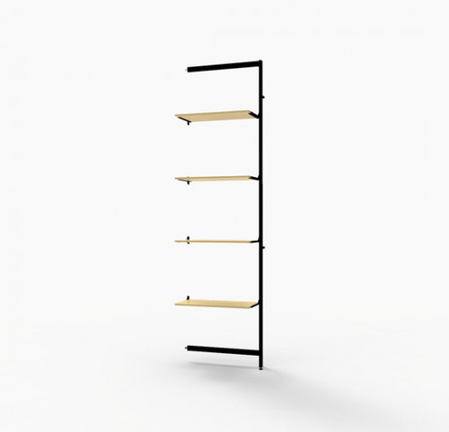 "Shelving Display for Four 14""-16"" Wood and Glass Shelves, Black Brown - Extension Vertik"