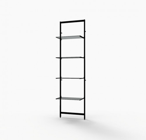 "Shelving Display for Four 14""-16"" Wood and Glass Shelves, Black Brown - Vertik"