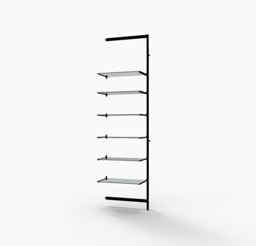 "Shelving Display for Six 14""-16"" Wood and Glass Shelves, Black Brown - Extension Vertik"