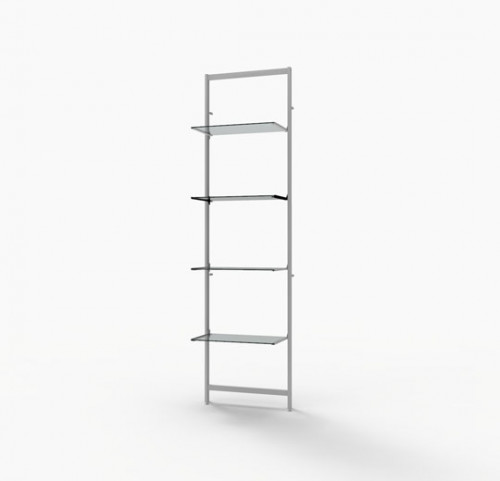 "Shelving Display for Four 14""-16"" Wood and Glass Shelves, White - Vertik"