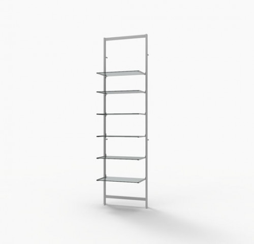 "Shelving Display for Six 14""-16"" Wood and Glass Shelves, White -  Vertik"