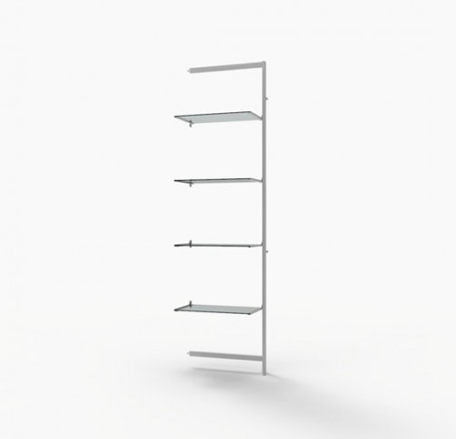 "Shelving Display for Four 14""-16"" Wood and Glass Shelves, White - Extention Vertik"