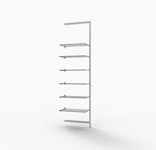 "Shelving Display for Six 14""-16"" Wood and Glass Shelves, White -  Extension Vertik"