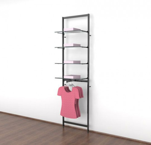 "Clothing Display for Four 14""-16"" Glass or Wood Shelves with One Faceout, Black Brown - Vertik"