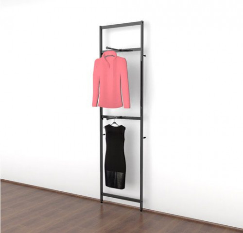 Clothing Display with Two Faceouts, Black Brown - Vertik