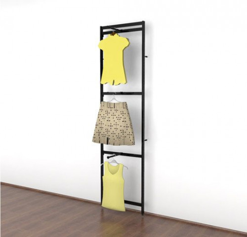 Clothing Display with Three Faceouts, Black Brown - Vertik
