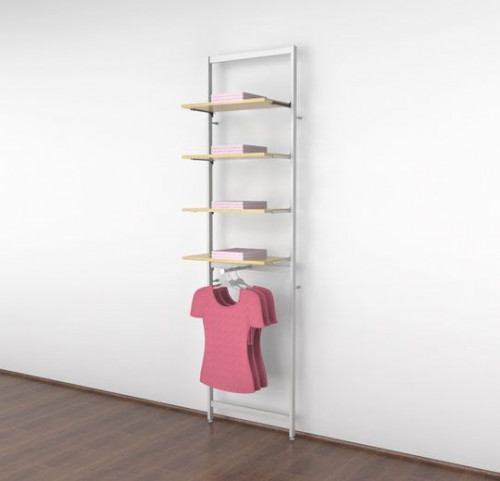 "Clothing Display for Four 14""-16"" Glass or Wood Shelves with One Faceout, White - Vertik"