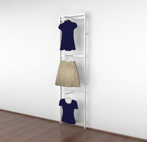 Clothing Display with Three Faceouts, White - Vertik