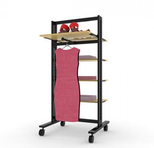 Clothing and Shelving Rack  Stand for Five Shelves and One Faceout | Vertik Black Brown