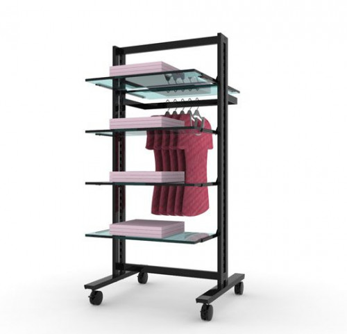 Clothing and Shelving Rack Stand for Five Shelves and One Hanging Rail | Vertik Black Brown