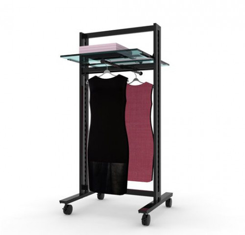 Clothing and Shelving Stand for Two Shelves and Two Faceoutes, Black Brown