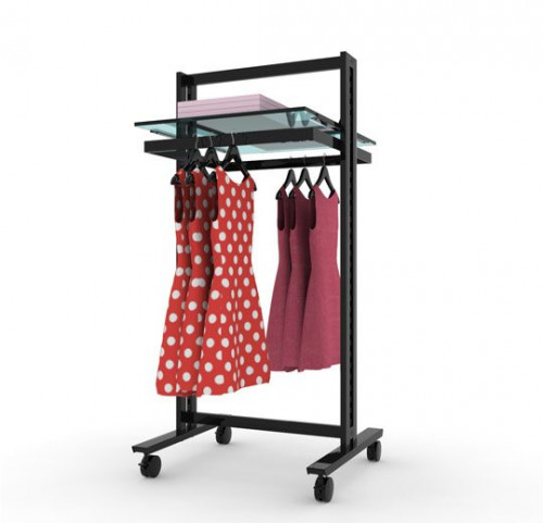 Clothing and Shelving Rack Stand for Two Shelves and Two Hanging Rails | Vertik Black Brown