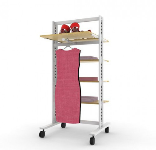 Clothing and Shelving Stand for Five Shelves and One Faceout, White