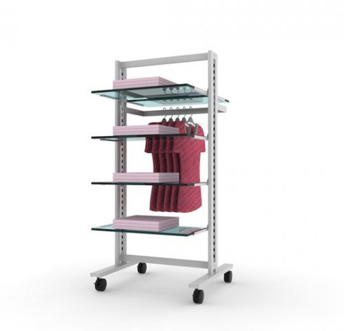 Clothing and Shelving Stand for Five Shelves and One Hanging Rail White