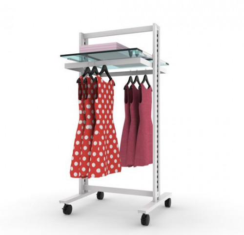 Clothing and Shelving Stand for Two Shelves and Two Hanging Rails, White