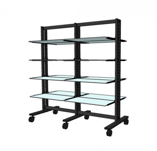 "Shelving Stand for 16 Wood or Glass Shelves 10""-12"" 