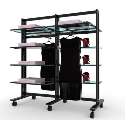 Clothing and Shelving Stand for Ten Shelves and Two Faceoutes, Black Brown, Two Sections