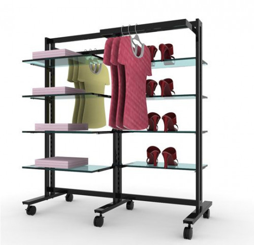 Clothing and Shelving Stand for Eight Shelves and Two Hanging Rails, Black Brown, Two Sections