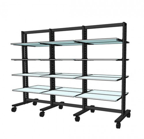 """Shelving Stand for 24 Wood or Glass Shelves 10""""-12""""   Black Brown Vertik, 3 Sections"""