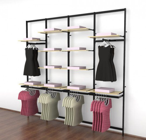 Clothing Display for Twelve Shelves with Two Faceouts and Four Hanging Rail, Black Brown, Four Sections - Vertik