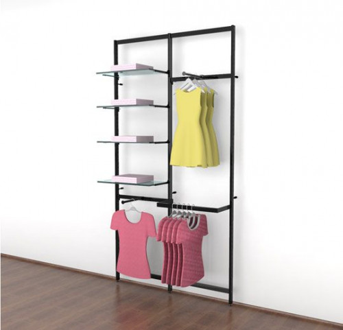 Clothing Display for Four Shelves with Two Faceouts and One Hanging Rail, Black Brown Two Sections - Vertik