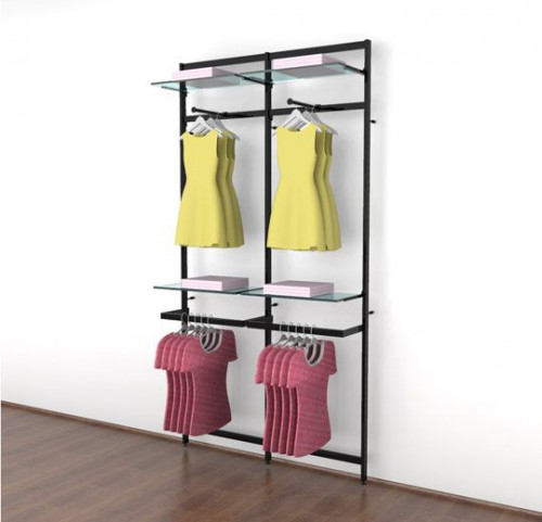 Clothing Display for Four Shelves with Two Faceouts and Two Hanging Rails, Black Brown Two Sections - Vertik