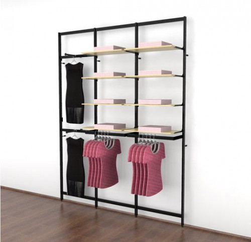 Clothing Display for Eight Shelves with Two Faceouts and Two Hanging Rails, Black Brown - Vertik