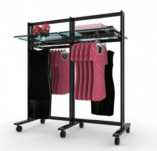 Clothing and Shelving Stand for Four Shelves, Two Faceoutes and Two Hanging Rails, Black Brown, Two Sections