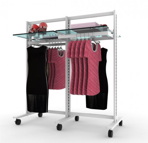 Clothing and Shelving Stand for Four Shelves, Two Faceoutes and Two Hanging Rails, White, Two Sections