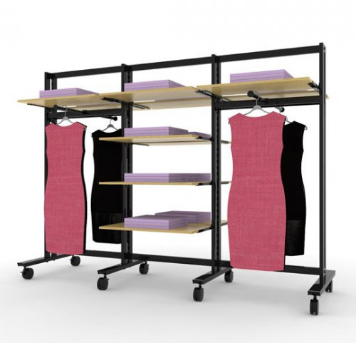 Clothing and Shelving Stand for Twelve Shelves and Four faceoutes, Black Brown, Four Sections